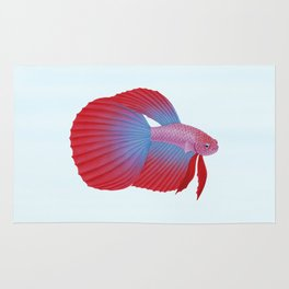 betta splendens bicolor purple male Rug