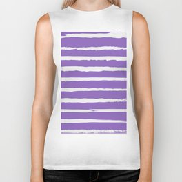 Irregular Hand Painted Stripes Purple Biker Tank