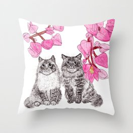 Two Cats with the Pink Flowers Throw Pillow