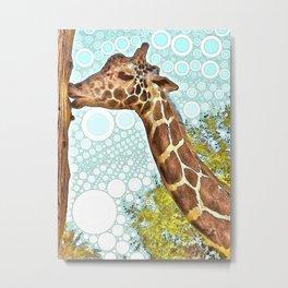 Giraffe Kiss Metal Print