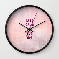 keep calm Wall Clocks featuring Keep Calm by Tina Vaughn