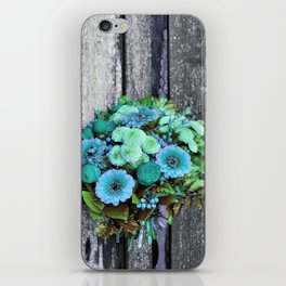 blue green bouquet on wood iPhone Skin
