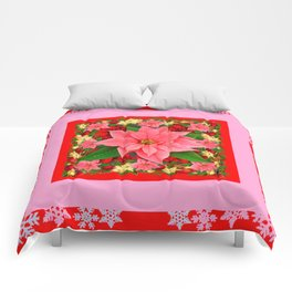 PINK SNOWFLAKES RED & PINK POINSETTIAS CHRISTMAS ART Comforters