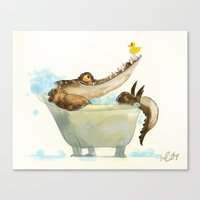 bath Canvas Prints featuring bath by Wiebke Rauers