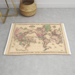1861 World Map - Johnson's World on Mercators Projection Rug