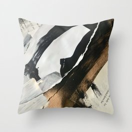 Stay | Collage Series 2 | mixed-media piece in gold, black and white + book pages Throw Pillow
