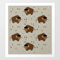 buffalo Art Prints featuring Buffalo by Heleen van Buul
