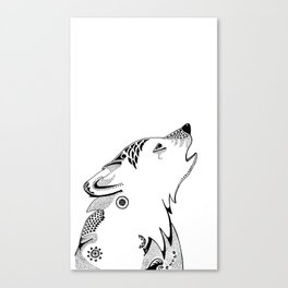 Wolf Pup in Ink Canvas Print