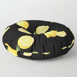 Lemons on Black Floor Pillow