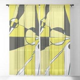 Geometric yellow and black Sheer Curtain