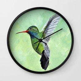 Green Hummingbird Art, Small Bird Painting, Birds and Berry Studio Wall Clock