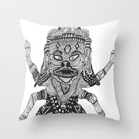 yeti Throw Pillows featuring Yeti by Guice Mann