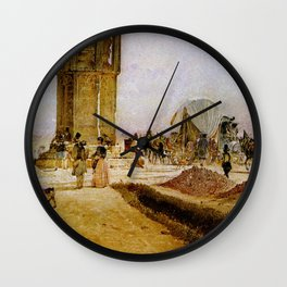Rush Hour Traffic On The National Road 1850 by Rudolf von Alt | Reproduction Wall Clock