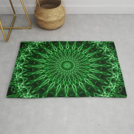 Mandala with dark and light green tones Rug