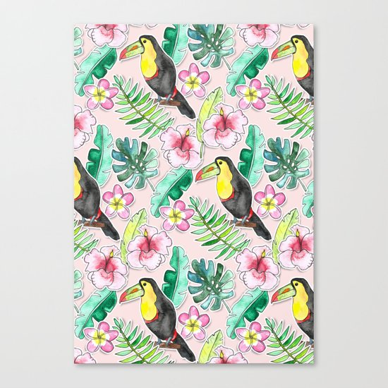 Tropical Toucan Paper-Cut Floral Canvas Print