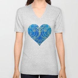Blue,art nouveau, floral,belle epoque,vintage,chic,pattern,William Morris,Victorian,shabby chic,beau Unisex V-Neck