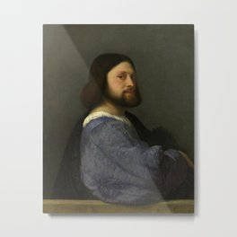 Titian - Portrait of a man with a quilted sleeve Metal Print
