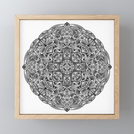 Black and White Mandala Pattern 012 Framed Mini Art Print