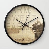 farm Wall Clocks featuring FARM SWEET FARM by Christina Lynn Williams