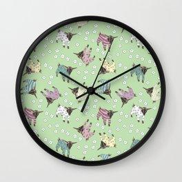 Pajama'd Baby Goats - Green Wall Clock