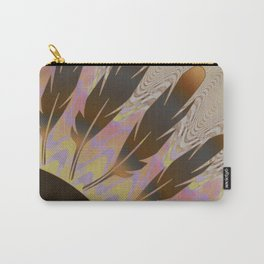 Boho Feather Sun and Wavy Lines Carry-All Pouch