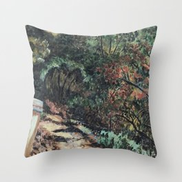 Lighted Path Through Green - Oil on canvas painting Throw Pillow