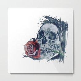 skull//rose Metal Print