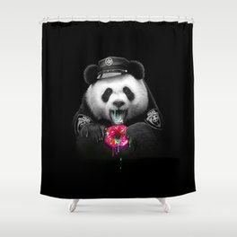 Panda loves donuts Shower Curtain