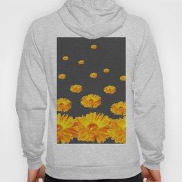 FLOATING YELLOW FLOWERS CHARCOAL GREY Hoody