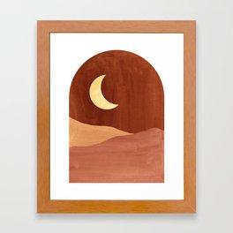 Terracotta night, abstract landscape, moon and desert Framed Art Print