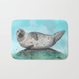 Cute Alaskan Iliamna Seal in Banana Pose Bath Mat