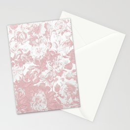 Girly trendy pink coral white lace floral Stationery Cards