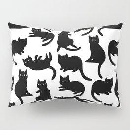 Black Cat Poses Pillow Sham