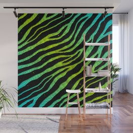 Ripped SpaceTime Stripes - Cyan/Lime Wall Mural