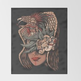 Aztec Eagle Warrior Throw Blanket