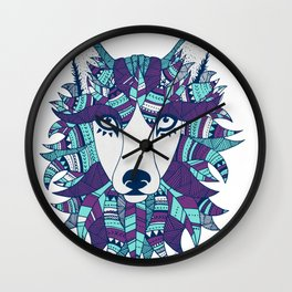 Wolf ME - Purple and Light Blue Wall Clock