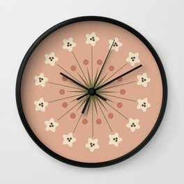 Large Pink and Cream Boho Bloom Wall Clock