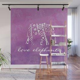 Elephant Love Purple Wall Mural