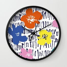 Bold Pen and Ink Floral Wall Clock