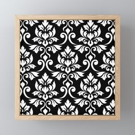 Feuille Damask Pattern White on Black Framed Mini Art Print