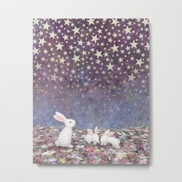 bunnies under the stars Metal Print