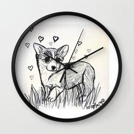 Cute Little Corgi Puppy Wall Clock