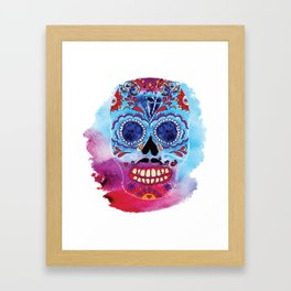 Watercolor Day of the dead sugar skull. Mexican skull illustration. Framed Art Print