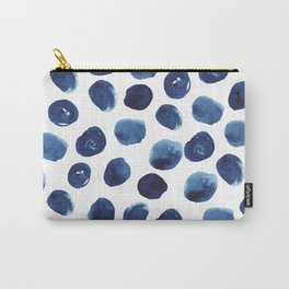 India - blue paint, ink spots, design, watercolor brush, dots, cell phone case Carry-All Pouch