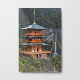 Pagoda and Nachi Falls in the Wakayama Prefecture, Japan Metal Print