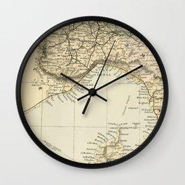 Vintage Retro Map Northern Italy Wall Clock