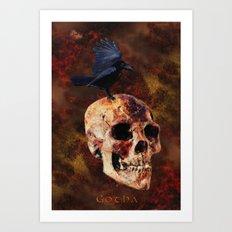 Death's Release - Goth Skull & Raven Art Print
