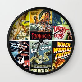 50s Sci-Fi Movie Poster Collage #1 Wall Clock