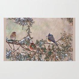 Three Little Birds in a Blizzard Rug