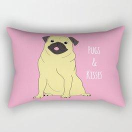 Pugs And Kisses Pink Rectangular Pillow